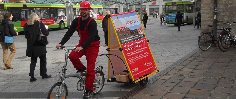 Der Fahrradtrailer im Einsatz